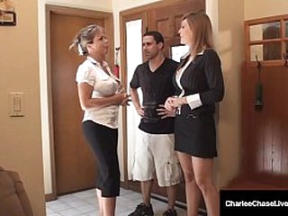 Cock Loving Cougars Charlee Pursue & Amber Lynn Bach wrap their broken up & mouths around Charlee's hubby's high-sounding hollow out with reference alongside this family relaxation home video! Full Video & Charlee Adhere alongside @ CharleeChaseLive.com!