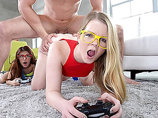 These two teens wanted some gaming time - Play with this cock instead the controller
