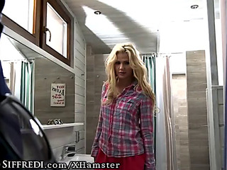 Euro hotty kicks out goldenhaired russian legal age teenager &fearsome swallows spunk fountain!