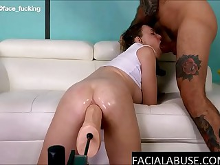 Face fucking and brutal painal for pretty blonde whore